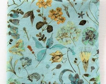 "Liberty of London Handkerchief, Robin's Egg Blue, Mother's Day Hanky, Gifts For Women, 11"" Flower Garden Handkerchief, Weddings, Cotton Lawn"