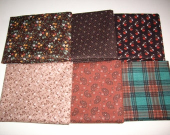 6 fat quarters brown,rust,green plaid,vintage,fabric