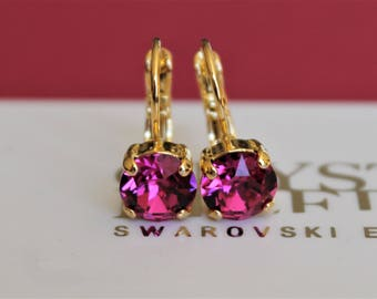 Gold Plated Leverback Earrings made with Fuchsia Swarovski Crystal Elements. Earrings by Lady C