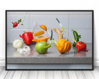 Fruits Kitchen print, Funny unique Creative Photography, Dining room present, Housewarming Colorful decor, Comic food fine art photo