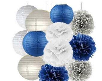 Set of 12 ( Navy Grey White ) 20cm Paper Crafts Tissue Paper Lanterns Paper Pom Poms for Valentines Birthday Wedding Party Decoration