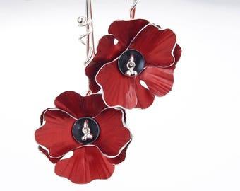 Poppy Flower Earrings – Statement Earrings- Silver and Anodized Aluminum