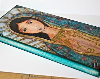 Virgen de Guadalupe -  Giclee print mounted on Wood (5 x 10 inches) Folk Art  by FLOR LARIOS