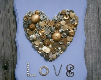 Repurposed Recycled Periwinkle Roman Plaque Love Heart Button Art Wall Decor