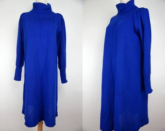 1980s Sweater Dress Blue Turtleneck Knit Cowl Large Stretchy Plus Size Maternity 80s