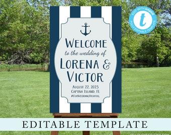 EDITABLE Wedding Welcome Sign Template, Custom Nautical Wedding Sign, Navy Blue & White Reception Sign Printable, Templett, Digital File