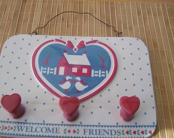 """Vintage 70's """"B & D JAPAN""""  Wall Clothes Rack / Holder Country Scene in Pink and Blue"""