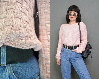 vintage 90s pastel pink sweater ribbed woven chunky knit pale pink cute sweatshirt top small