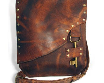 Whiskey Leather Crossbody Messenger Bag with Vintage Brass Key Closure - Desert Rose Rust Leather Purse READY TO SHIP