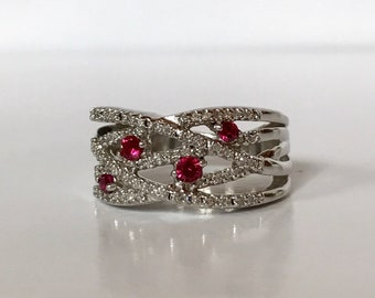 Diamond and Ruby statement ring Sterling silver size 6.5