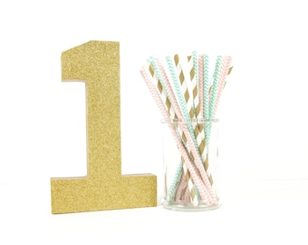 Gold Glitter Number 1 - First Birthday - Party Decor - Princess Party - Golden Birthday - Big Number for Birthday Party