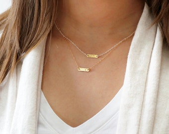 Tiny Gold Necklace, Personalized Necklace, Gold Bar Necklace, Gold Personalized Bar Necklace, Initial Jewelry, Personalized Jewelry