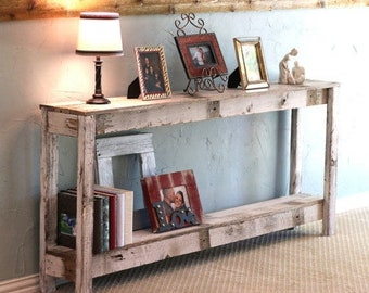 SALE Rustic Sofa Table in Farmhouse White