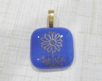 Cobalt Blue Pendant, Gold Flower, Fused Glass Pendant, Omega Slide, Large Gold Bail, Glass Fuse - Golden Daisy - -5