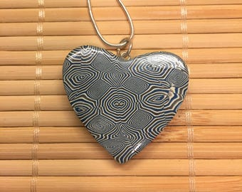 Blue and White Swirls Valentine's Day Heart Necklace - Polymer Clay Jewelry for Women