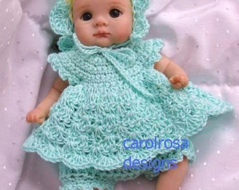Baby doll CROCHET PATTERN - Peppermint Creme - OOAK clay Baby outfit - Dress, Bonnet, Panties 6.5 to 7 inch doll