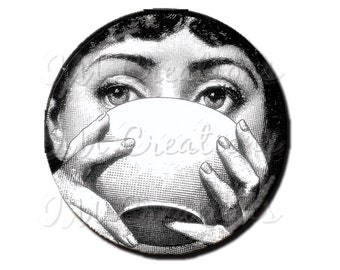 """LIQUIDATION SALE! Woman's Sipping Bowl Magnet or Pinback - 2.25"""""""