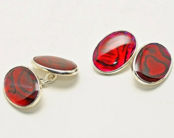 Mother Of Pearl Cufflinks Special Mini Double Red Colour Regnas Sterling Silver 925