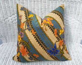 20x20,  Boho Pillows, Colorful Pillow, Floor Pillows, Boho Cushion Covers, Bohemian Pillows, Sari Pillow, Blue Orange, Batik Pillows