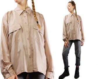 Silk Blouse Beige / Beige Silk Blouse / Silk Shirt Beige / Silk Shirt Oversized / Silk Shirt Women / Silk / Silk Dress / YUMMY VINTAGE