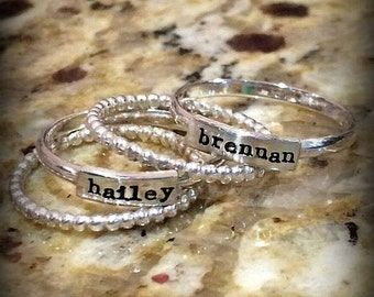 Stacking Name Ring - Stacked Mother's Ring - Personalized Rings - Stackable Rings - Personalized - Name Rings -  for Her - Gifts for Mom
