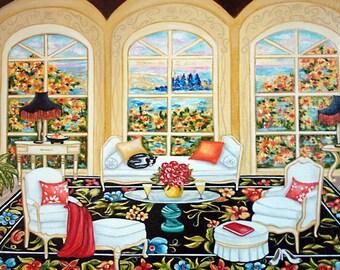 Monet Print, Interior Design, White Furniture, Living room, Floral Wall Art Print, Fall Flowers