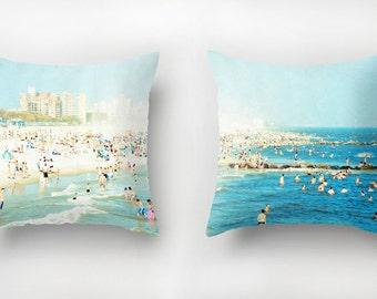 Throw Pillows Set with Inserts // Beach Nautical Decor // Turquoise Throw Pillows // Beach Print Pillows // Peeps Dips SET OF TWO