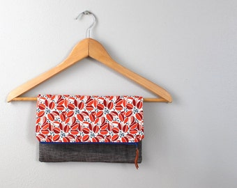Fold over Clutch, Evening Bag, Zipper Purse, Everyday Clutch, Women's Purse, Zipper Pouch in Red, Navy and Gray Linen