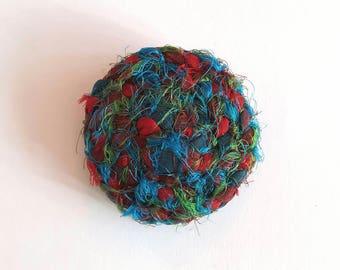 Blue sari silk circle brooch