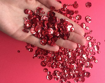 Confetti. Party confetti. Party glitter. Party supplies. Scrapbooking supplies. Sequins. Red sequins. Red glitter. Card making. Craft.