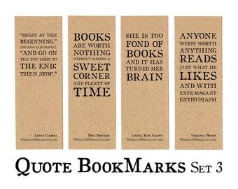 Set of 4 Quote Bookmarks | bookish quotations, quotes about books & reading | stocking filler gift for bookworm | reading group party favors