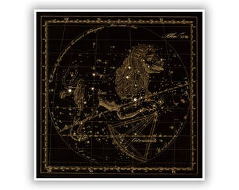Leo Zodiac Art, Old Russian Astronomy Chart, Star Constellation Illustration, Vintage Style Print, Multiple Size Options