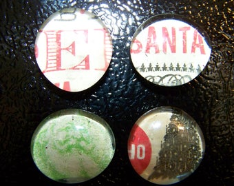 Old Fashioned Christmas Refrigerator Magnets Set of 4