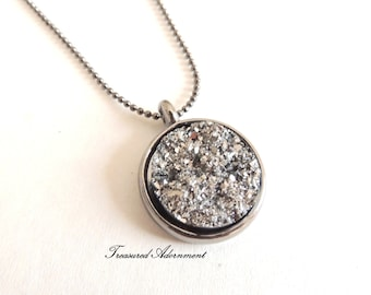 Druzy Necklace, Resin Metallic Gray Druzy, Round, Gun Metal Necklace, Galaxy Necklace, Thank you gift for her, Valentine's Day Gift for her