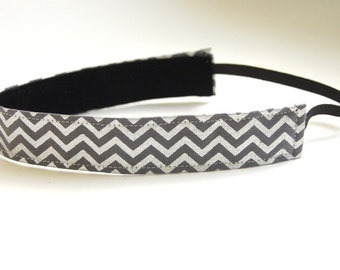 Multi Color Sliver and Grey Chevron Pattern Non Slip Fabric Headband (Non Slip Velvet Lining)
