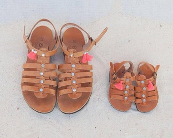 aelia greek sandals/little girl/leather/greece sandals/strass/coral tassels