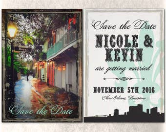 Printable New Orleans Save the Date Wedding Flat Card Custom Double Sided French Quarter