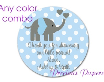 Personalized PRINTED blue elephant baby shower sticker polka dot baby shower favor stickers blue elephant labels