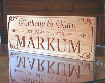 Family Name Sign, Wood Established Sign, Personalized Sign, Carved Wooden Sign, Engagement Date Sign, Benchmark Custom Signs, Cherry AA