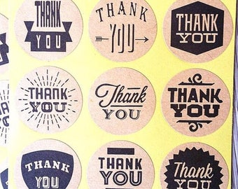 9 circle stickers stickers - paper - label packaging - kraft thank you