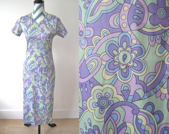 Vintage 1960s Pastel Psychedelic Printed Maxi Dress - Floral Paisley Mint Green, Lavender Purple, Yellow and Blue Easter Dress Short Sleeved