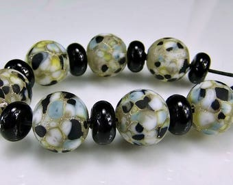 Etched Black Gray Silver Lampwork Bead Set SRA Lampwork Glass Beads