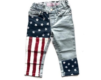 Girls Painted Jeans, Girls Skinny Jeans, Girls 4th of July Denim, Hand Painted Jeans, Girls Denim, Girls Jeans, Painted Denim, Skinny Jeans