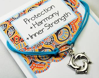 Wish Bracelet - Dolphin Friendship Bracelet - Girlfriends Corded Dolphin Friendship Bracelet - Protection - Harmony -Inner Strength INT017