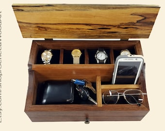 Watch Box , Men's Valet Box, Wood Watch Box, Watch Display, Watch Case, Watch Collector, Walnut and Spalted Magnolia