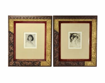 Pair Arthur Garratt Etchings Portrait Beautiful Women Aesthetic Movement Frames
