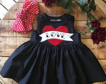 Skeletots Black tattoo love  baby girl dress ages 0-24m