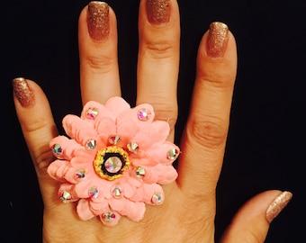 Crystal flower ring,kawaii ring,cute ring,flower ring,flower,pink flower ring,pink flower,ab crystals,easter rings,adjustable band.