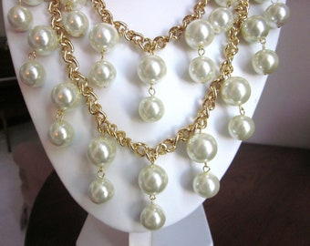 "2 Broke Girls Necklace - The ""Caroline"" - Gold and Pearl Necklace -Inspired by the TV Show- Bib, Choker, Bridal, PLUS Earrings"