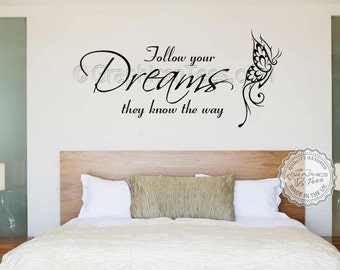 Family Wall Sticker, Inspirational Quote, Follow Your Dreams, with Butterfly, Home Wall Art Decal
